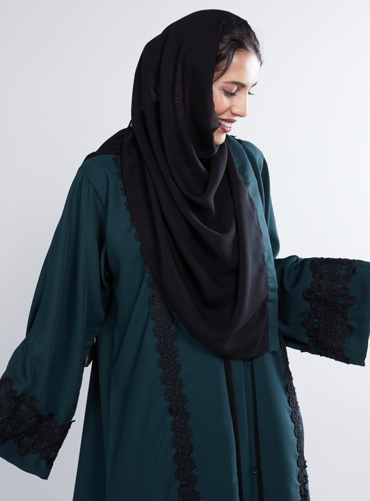 Panel Detail Abaya with Long Sleeves and Rope Accent