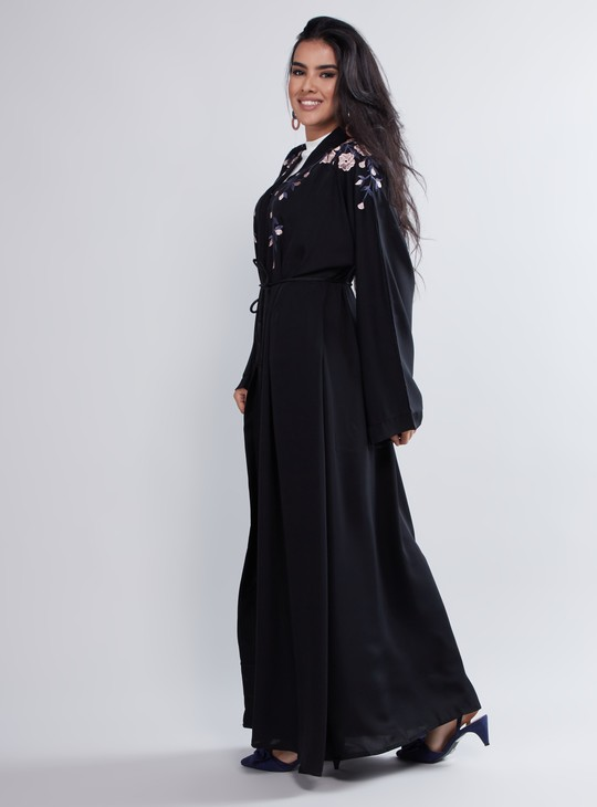 Floral Embroidered Abaya with Full Sleeve and Waist Accent