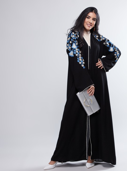 Embroidery Detail Abaya with Long Sleeves and Rope Accent