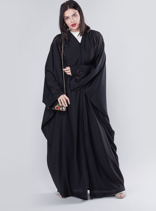 Embellished Detail Abaya with V-neck and Long Sleeves