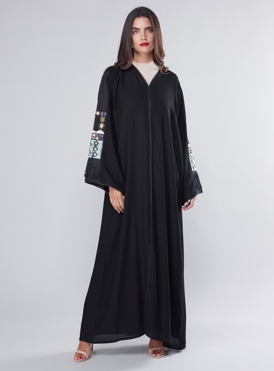 Embroidered Detail Abaya with Long Sleeves and Tassel Detail
