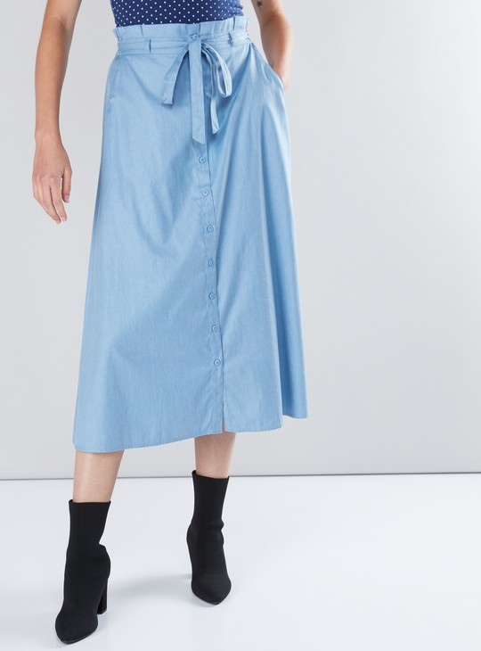 Paperbag Waist Midi Skirt with Elasticised Waistband and Pocket Detail