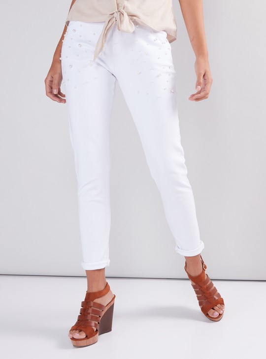 Full Length Pants with Button Closure and Pearl Detail