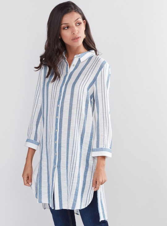 Striped Shirt Tunic with Complete Placket and High Low Hem
