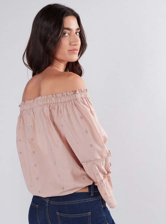 Schiffli Detail Off-Shoulder Top with Bell Sleeves