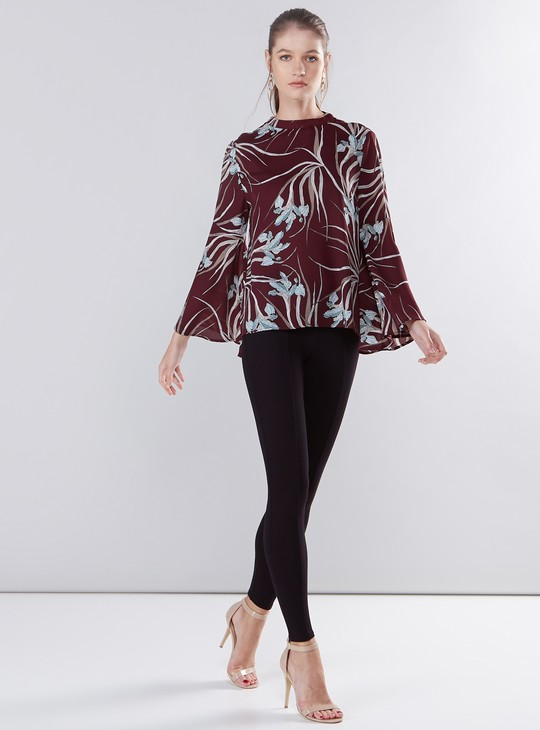 Printed Top with Long Flared Sleeves