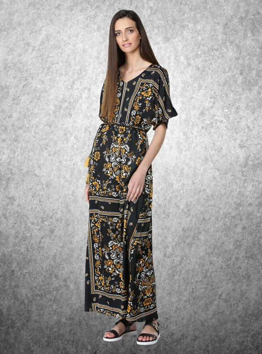 Kimono Sleeve Maxi Dress with Rope Tassel Tie