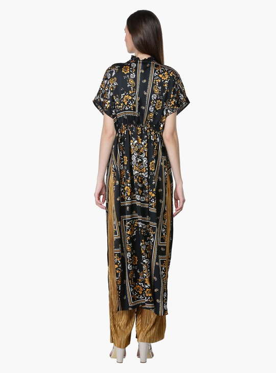 Printed Longline Shrug with Tie Up