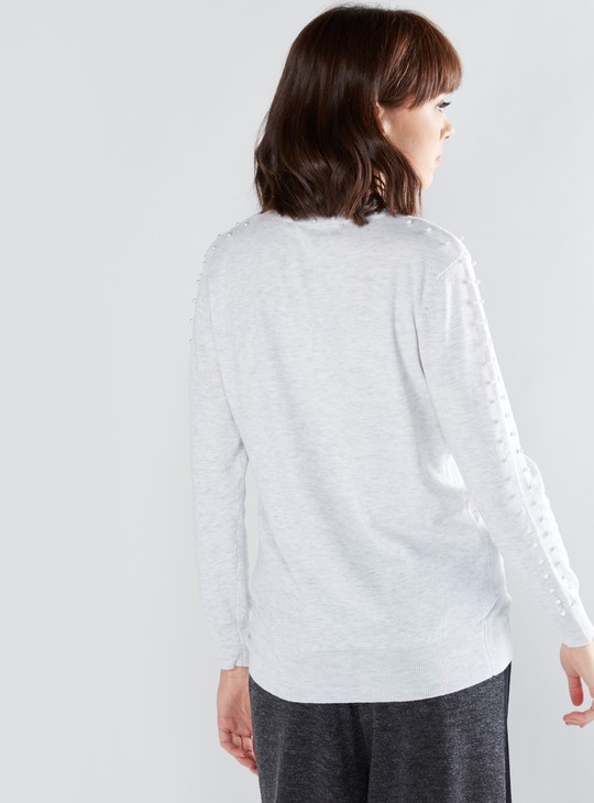 Pearl Detail Top with High Neck and Long Sleeves