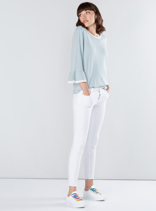 Textured Sweat Top with Round Neck and Flared Sleeves