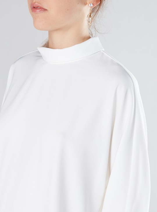High Neck Top with Extended Sleeves