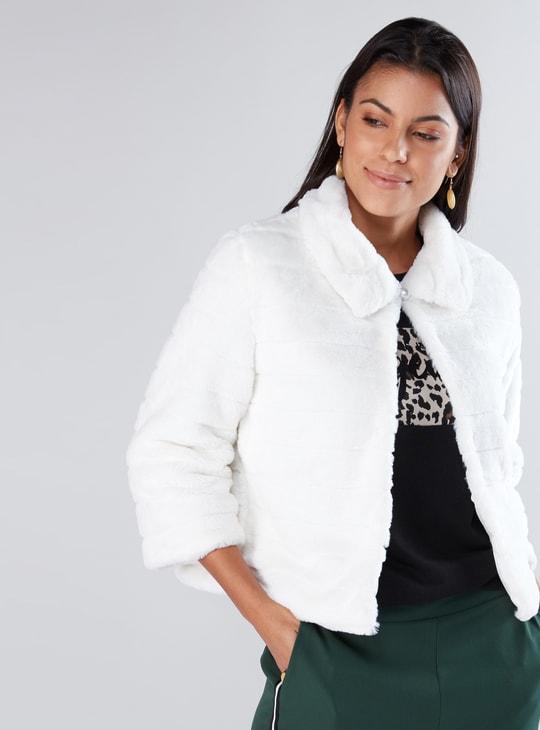 Plush Jacket with 3/4 Sleeves