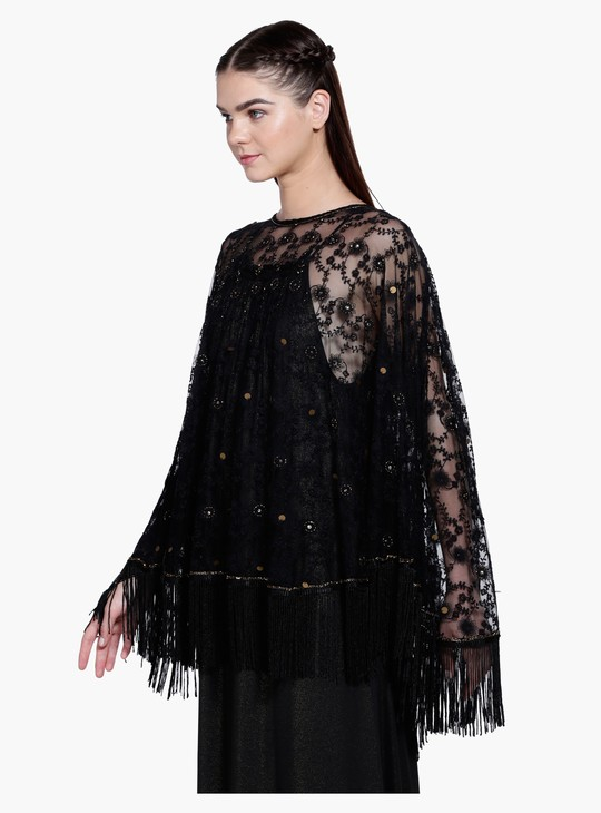 Embroidered Shrug with Fringes on the Hem
