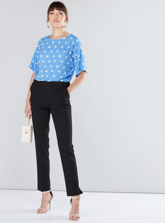 Polka Dot Printed Top with Round Neck and Drop Shoulder Sleeves