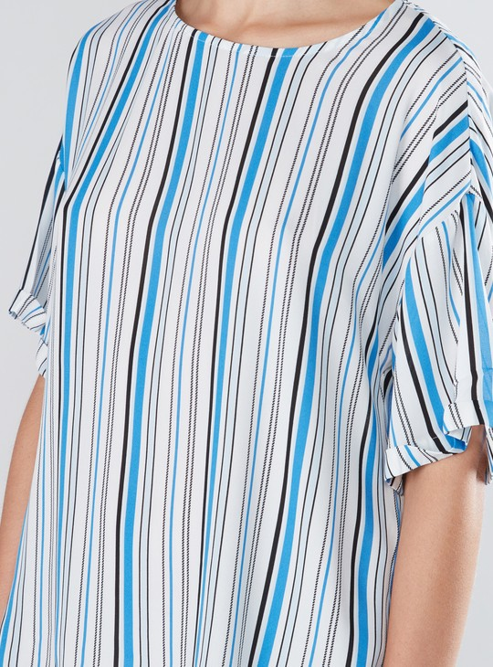 Striped Top with Round Neck and Drop Shoulder Sleeves