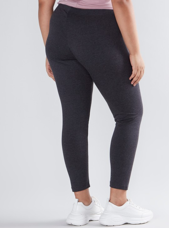 Full Length Mid Rise Plain Leggings with Elasticised Waistband