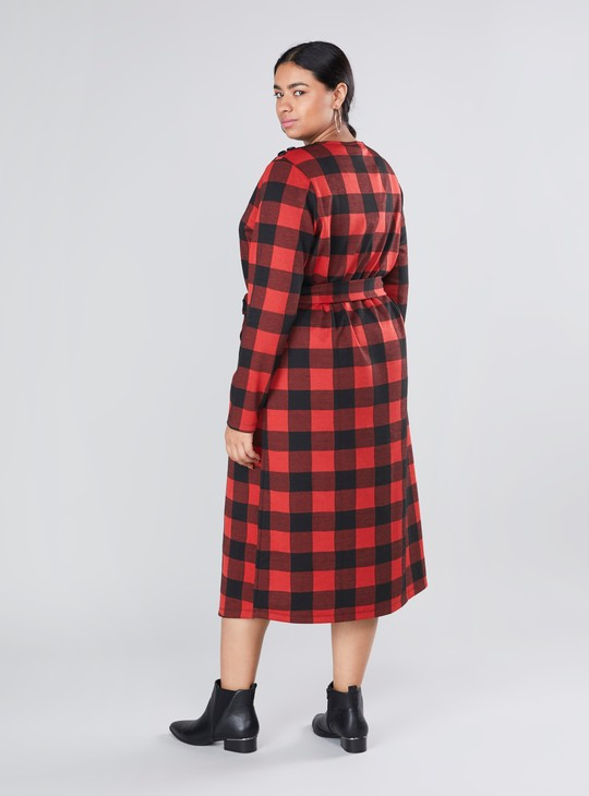 Chequered Midi Shift Dress with Long Sleeves and Tie Ups