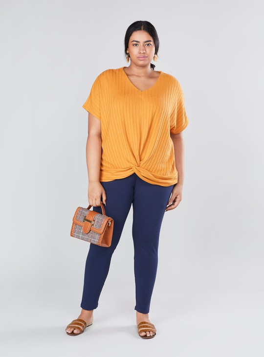 Textured Top with V-neck and Extended Sleeves