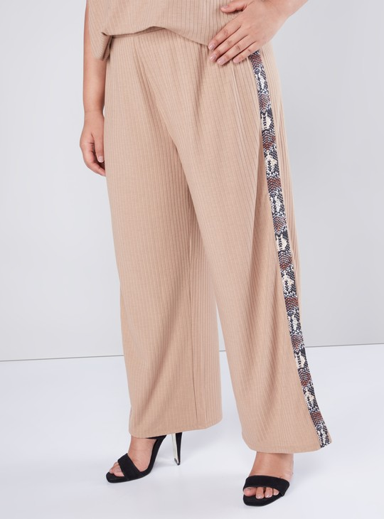 Regular Fit Ribbed Palazzos with Side Tape Detail