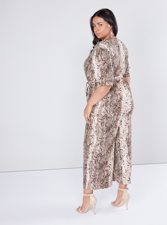Snake Printed Jumpsuit with Button Closure and Belt
