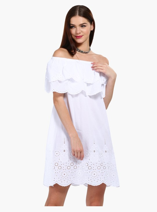 Off Shoulder A-Line Schiffli Dress with Layered Ruffle