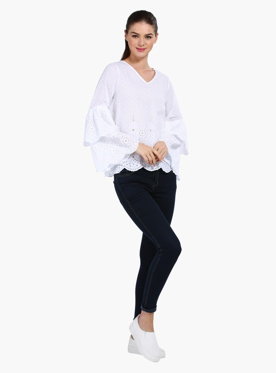 V-Neck Schiffli Top with Double Layer Ruffle Sleeves