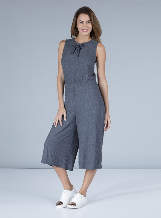 Sleeveless Jumpsuit with Ribbed Detail