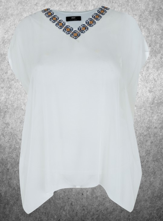Embroidered Top with V-Neck
