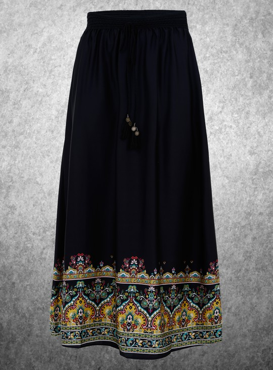 Plus Size Border Printed Maxi Skirt with Drawstring
