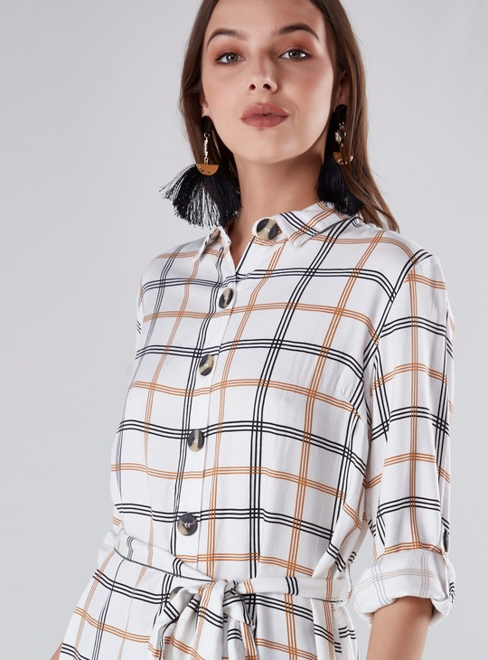 Chequered Shirt Tunic with Long Sleeves and Tie Ups