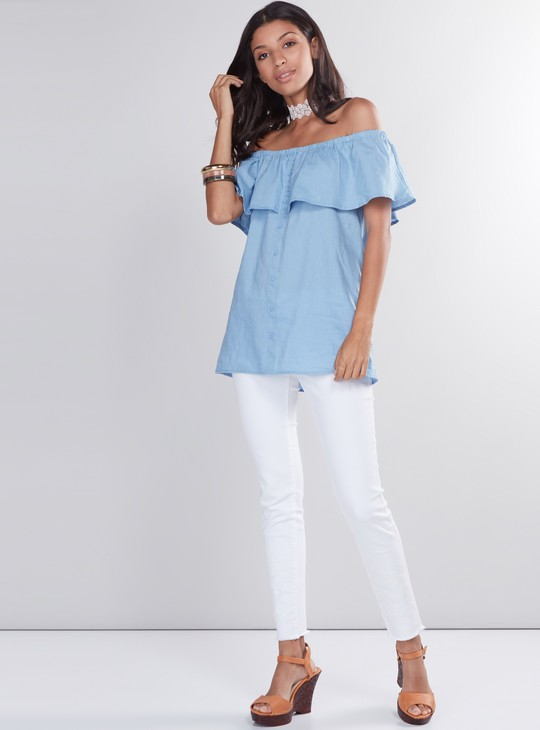 Off Shoulder Top with Button Placket and Ruffle Layer