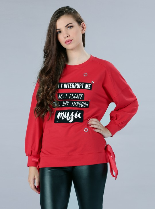 Printed Long Sleeves Sweatshirt with Eyelets and Tie Ups