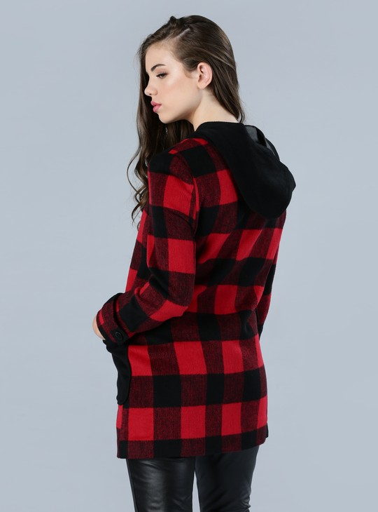 Chequered Duffle Coat with Toggle Closure
