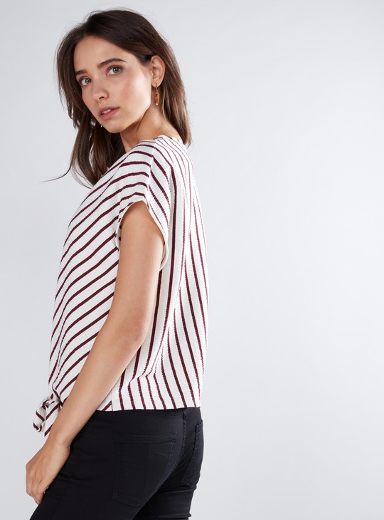 Ribbed and Striped Top with V-Neck and Knot Detail