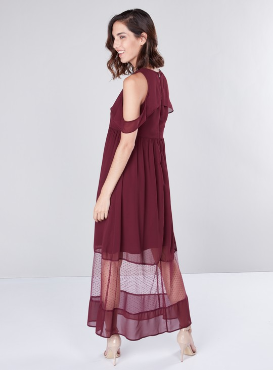 Solid Cold Shouler Maxi Dress with Mesh Overlay