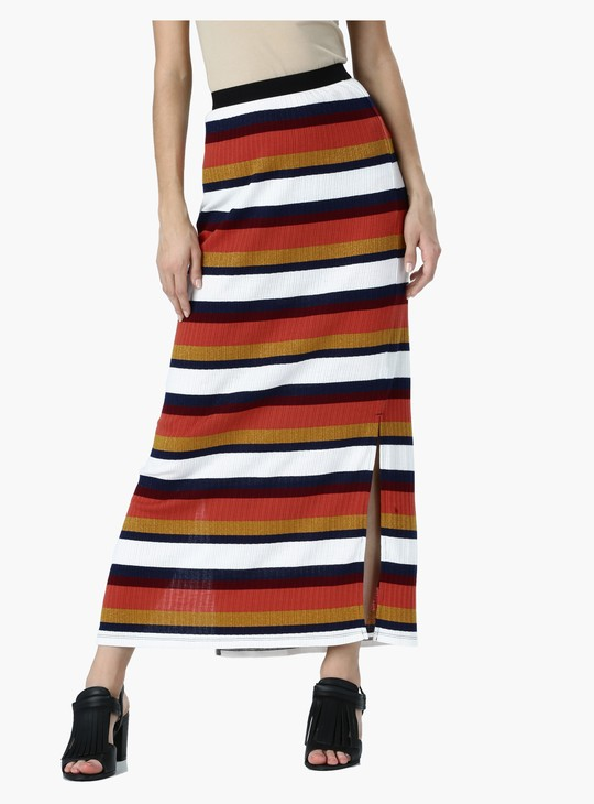 Striped Maxi Skirt with Side Slit