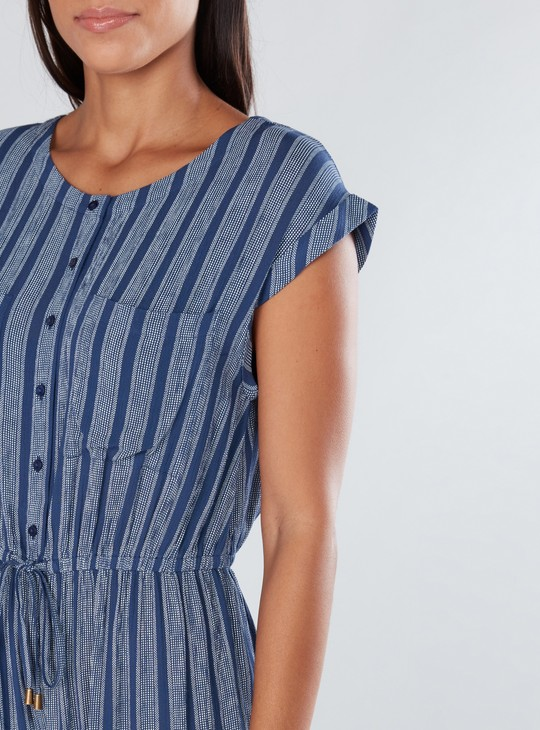 Striped Jumpsuit with Extended Sleeves and Pocket Detail
