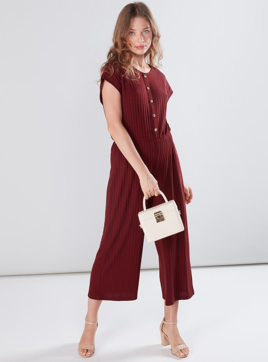 Ribbed Jumpsuit with Extended Sleeves and Button Detail