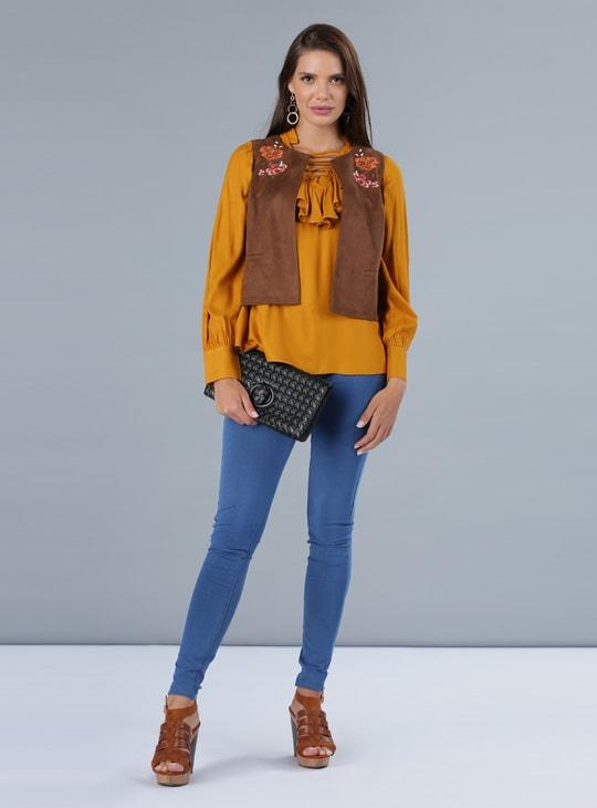 Embroidered Sleeveless Jacket