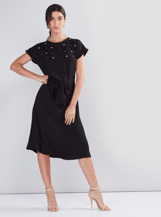 Embellished Midi Dress with Round Neck and Tie Up Belt