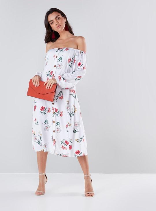 Floral Print Off-Shoulder A-line Midi Dress