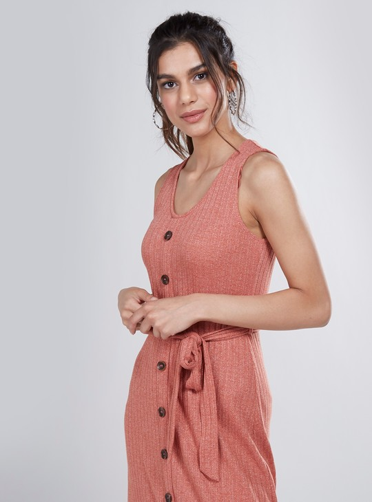 Textured Midi A-line Sleeveless Dress with V-neck and Tie Ups