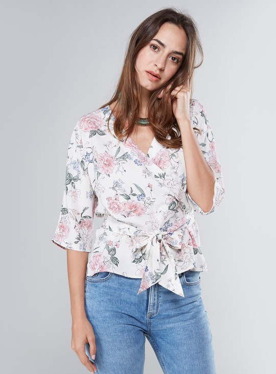 Floral Print Wrap Top with 3/4 Sleeves