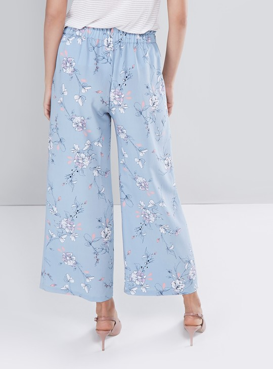 Floral Print Palazzo Pants with Elasticized Waistband Closure