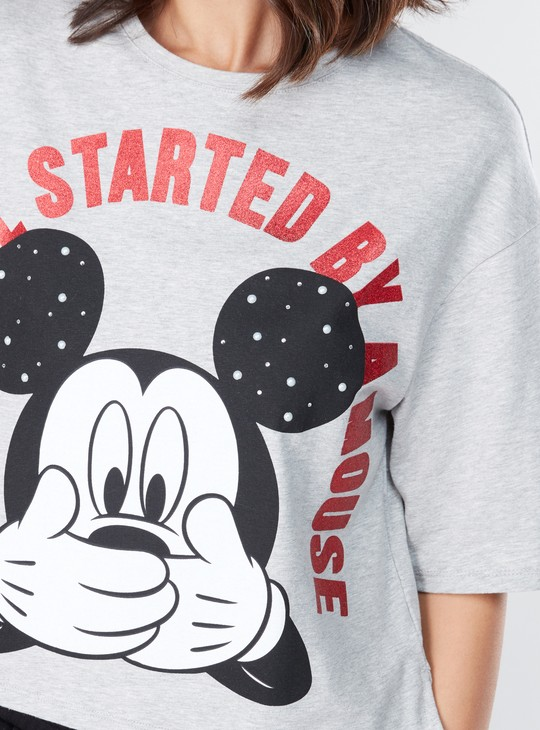 Mickey Mouse Printed T-Shirt with Round Neck and 3/4 Sleeves