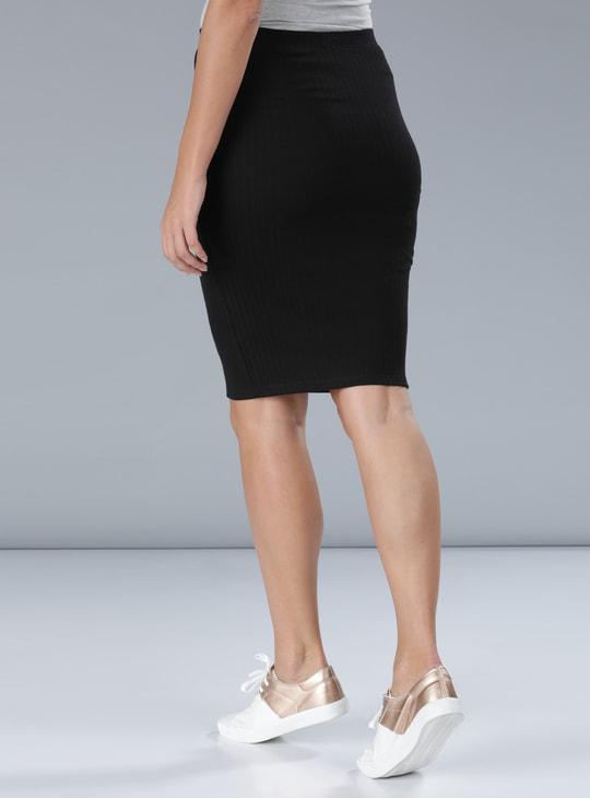 Ribbed Skirt with Elasticised Waistband