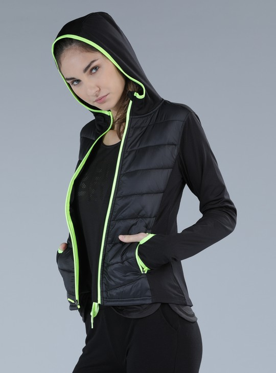 Quilted Jacket with Long Sleeves and Hood