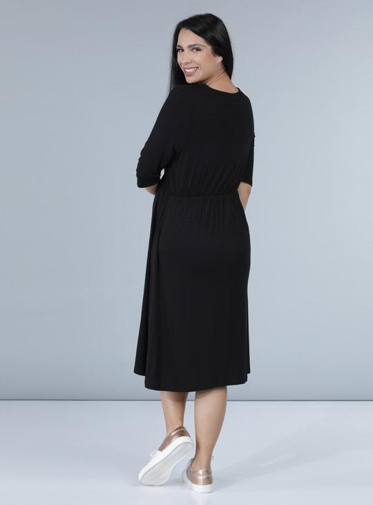 Maternity Midi Dress with 3/4 Sleeves