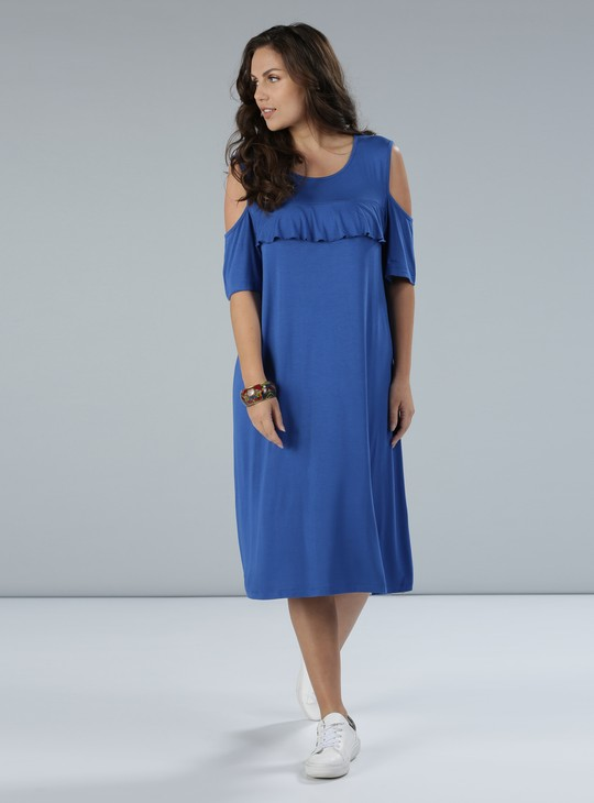 Round Neck Dress with Cold Shoulders