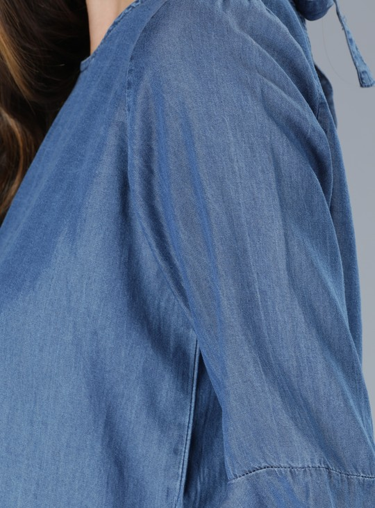 Round Neck Denim Top with Flare Sleeves
